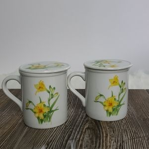 Floral Covered Tea/Coffee Cups Set of 2 Yellow